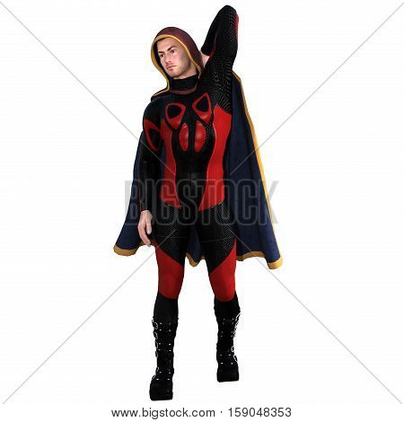 One young man in a super suit and a red cloak. He stands and poses. His left hand behind his back