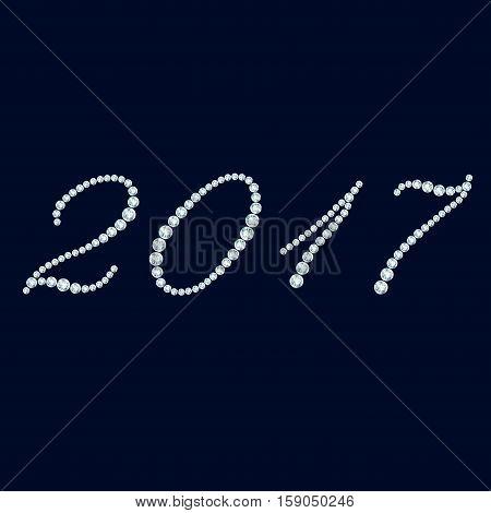 Italic shining numbers 2017 on dark background