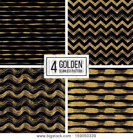 Set of seamless pattern of gold glitter stripes, zigzag chevron, wavy stripe, seamless texture golden lines, wave, zig zag stripe, hand drawn vector pattern for paper, card, invitation, wedding, web