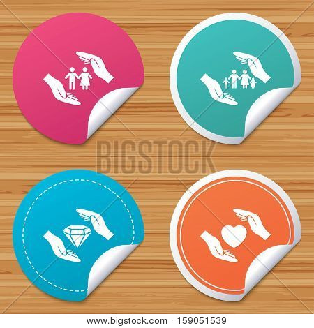 Round stickers or website banners. Hands insurance icons. Couple and family life insurance symbols. Heart health sign. Diamond jewelry symbol. Circle badges with bended corner. Vector