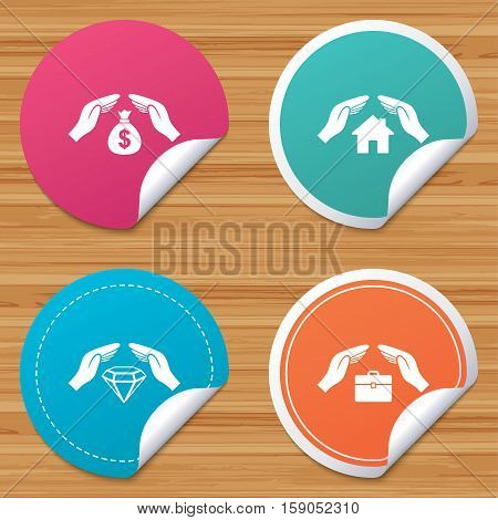 Round stickers or website banners. Hands insurance icons. Money bag savings insurance symbols. Jewelry diamond symbol. House property insurance sign. Circle badges with bended corner. Vector