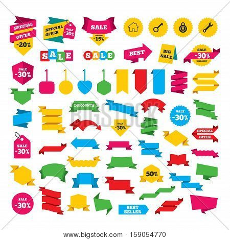 Web stickers, banners and labels. Home key icon. Wrench service tool symbol. Locker sign. Main page web navigation. Special offer tags. Vector