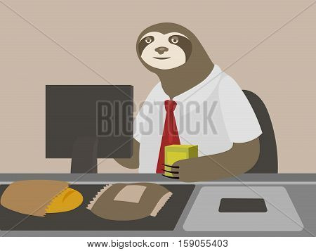 Sloth cashier guy in shop. Cartoon comical hand drawn vector illustration