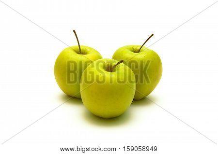 three apples isolated on white background. horizontal photo.