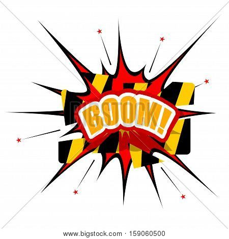 Cartoon BOOM with disrupted barrier, isolated on white background