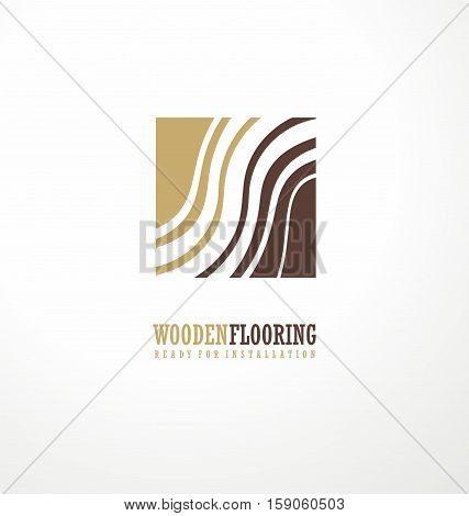 Wooden flooring logo design concept with stylized tree rings in negative space. Vector illustration. Parquet and laminate floors.