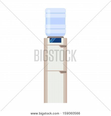 Water cooler and bottle. Modern flat illustration isolated on white background