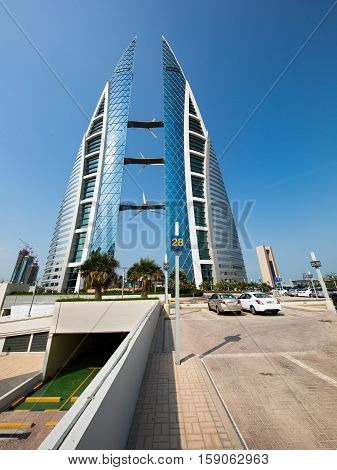 MANAMA, BAHRAIN - NOVEMBER 23, 2016: A close and wide  shot of the the iconic building, Bahrain World Trade Center