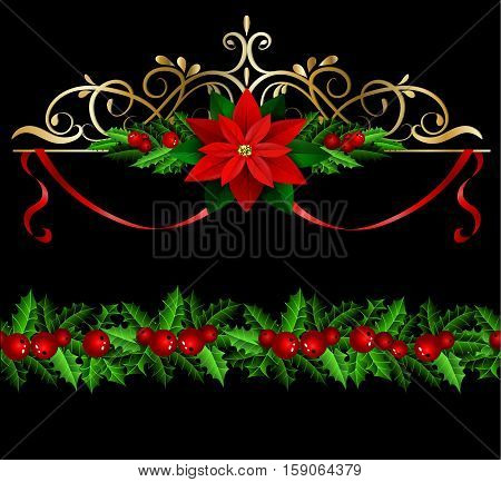 Christmas decoration set with evergreen treess holly and poinsettia isolated on black with swirls and seamless border