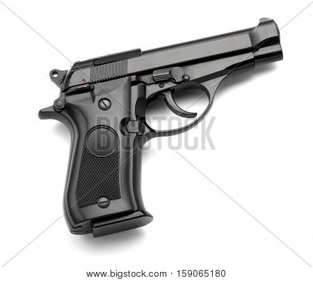 Automatic Handgun On A White Background