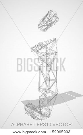 Abstract illustration of a Pencil sketched lowercase letter J with Transparent Shadow. Hand drawn 3D J for your design. EPS 10 vector illustration.