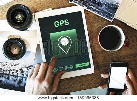 GPS Destination Location Map Concept