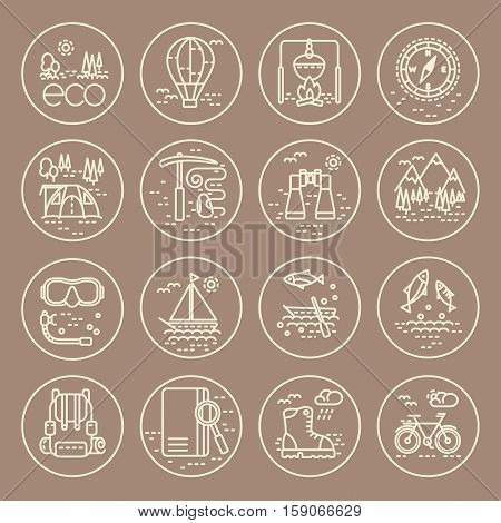 Collection of line style eco tourism icons on grey background. Vector illustration. Can be used for web page banner infographics
