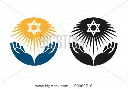 Judaism vector logo. Star of David or Religion icon isolated on white background