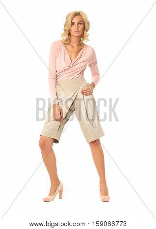 Beautiful Sexual Model Blonde Pose In Fashion Breeches