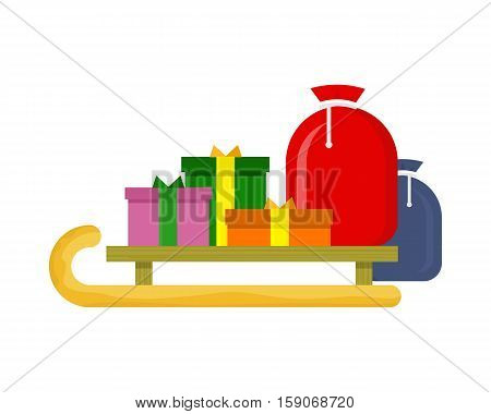 Christmas presents on the sledge on the white background. Toboggan with gift boxes. New Year and Xmas concept. Sleigh carrying cadeaus. Vector