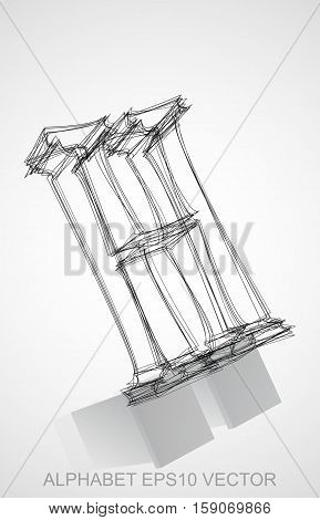 Abstract illustration of a Ink sketched 0 with Reflection. Hand drawn 3D 0 for your design. EPS 10 vector illustration.