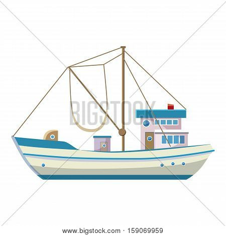 Fishing boat icon. Cartoon illustration of fishing boat vector icon for web design
