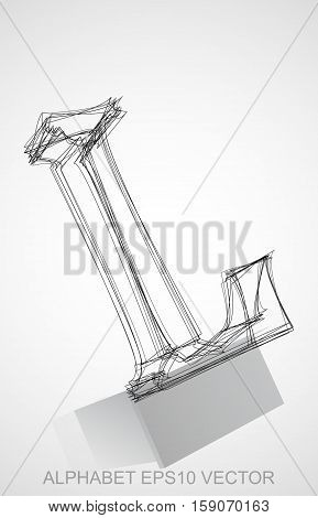 Abstract illustration of a Ink sketched uppercase letter L with Reflection. Hand drawn 3D L for your design. EPS 10 vector illustration.