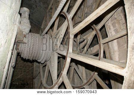 Wooden Gear Wheel In Old Windmill