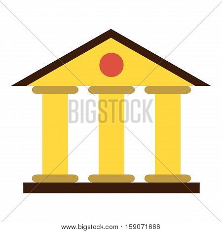 Justice court building icon. Flat illustration of justice court building vector icon for web design