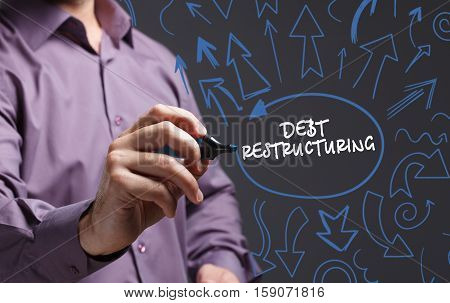 Technology, Internet, Business And Marketing. Young Business Man Writing Word: Debt Restructuring