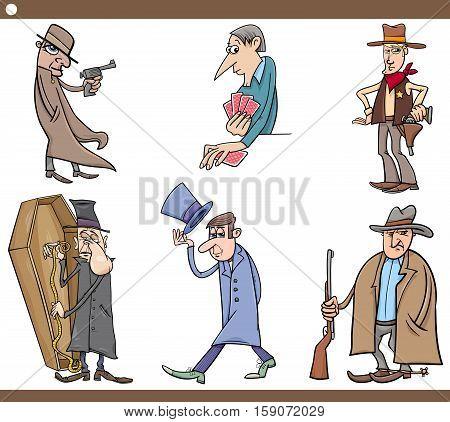 Cartoon Illustration Set of Wild West People Characters