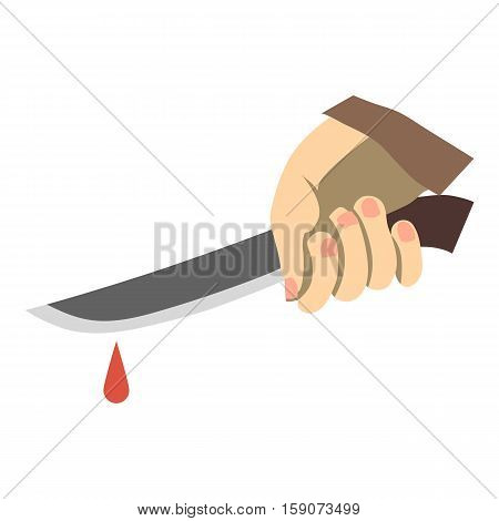 Hand holding knife with blood icon. Flat illustration of hand holding knife with blood vector icon for web design