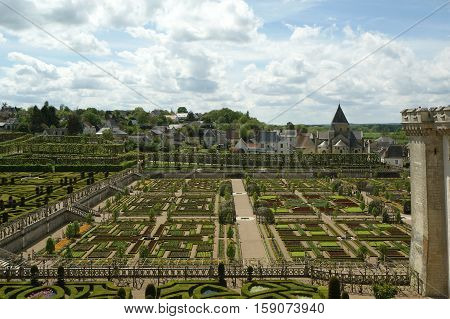 Villandry Chateau And Its Garden, Loire Valley, France ---one Of The Most Beautiful Gardens In All F