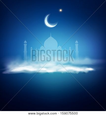 background for Ramadan holiday with clouds, mosque, crescent