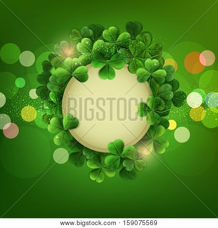 Vintage circle with space for text in a frame of shamrocks on green background, the holiday sv.Patrika