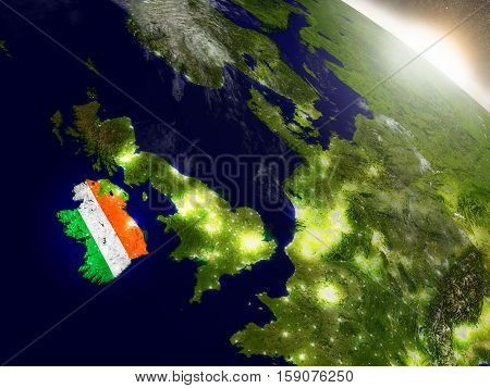Ireland With Flag In Rising Sun