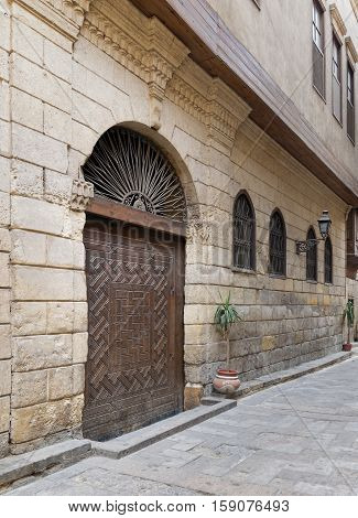 Cairo, Egypt - November 19, 2016: View from Darb Asfour Lane showing part of the facade of Bayt Al-Suhaymi an old Ottoman era house in Medieval Cairo Egypt