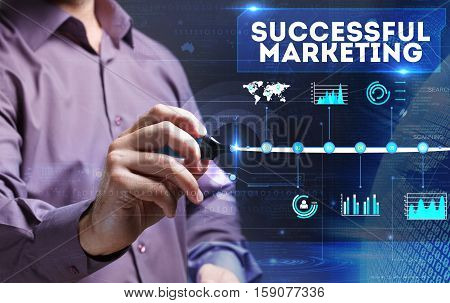 Technology, Internet, Business And Marketing. Young Business Man Writing Word: Successful Marketing