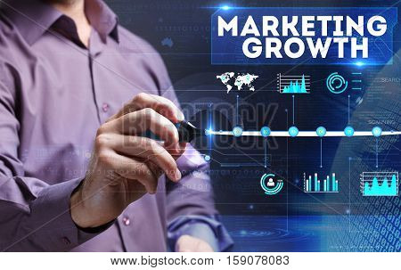 Technology, Internet, Business And Marketing. Young Business Man Writing Word: Marketing Growth