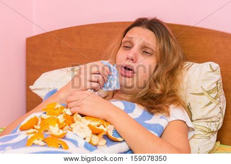 Young Girl Coughing Heavily Lying In Bed