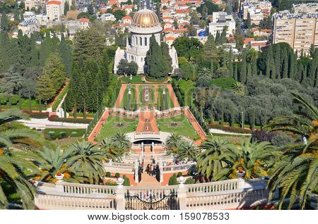 HAIFA ISRAEL 06 11 16: Bahai gardens can be found at Bahai Holy Places in Israel and elsewhere. Many Bahai holy places in Haifa and around Acre Israel were inscribed on the World Heritage List in 2008
