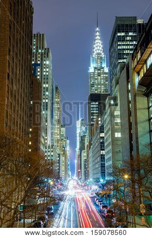New York City at night - 42nd Street with traffic, long exposure, NYC, USA