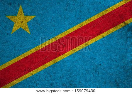 Democratic Republic Of The Congo Flag On An Old Grunge Background
