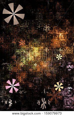 Industrial Background. Fantasy Fractal Texture In Orange, Grey, Pink And Black Colors. Digital Art.