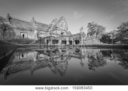 sand stone castle phanomrung in Buriram province Thailand. Religious buildings constructed by the ancient Khmer art Phanom rung national park in North East of Thailand black and white