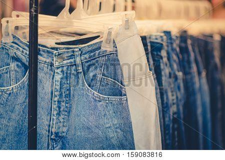 blue jeans shop vintage tone in Thailand.