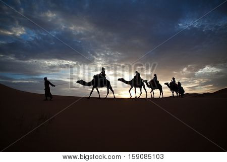 Camel train silhouetted against colorful sky crossing the Sahara Desert Morocco