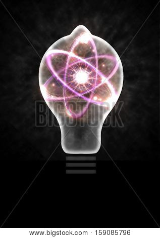 Atomic particle as lightbulb filament and nuclear energy 3D illustration