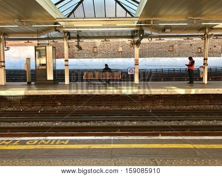 LONDON - NOVEMBER 29: View across track and platforms at Finchley Road Underground Station on November 29, 2016 in London, UK.