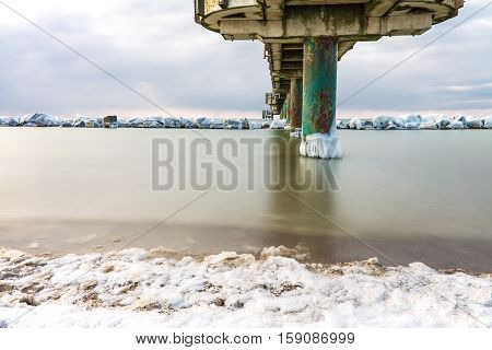 Winter time on shore of the Baltic Sea.