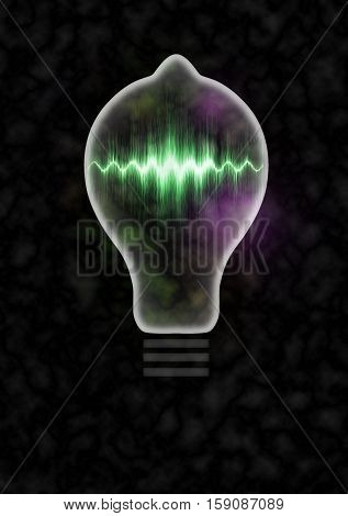 Light bulb 3d illustration containing neon sound wave