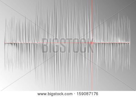 Visual stylized sound wave 3D illustration abstract background