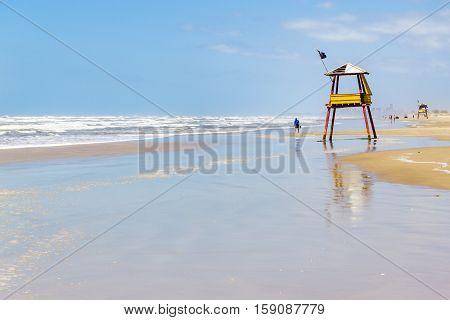 Lifeguard Towe And Waves And Blue Sky At Balnearios De Gaivota Beach