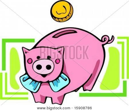 Pig money box.Vector illustration